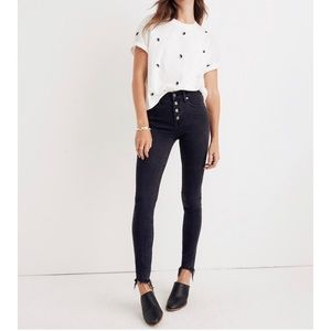 "Madewell 9"" High-Rise Skinny Jeans with buttons"